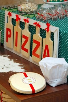 Pizza backdrop made using cutting boards