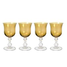 Amber Wine Glasses, Set of 4