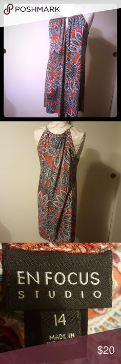 En Focus midi paisley dress Sleeveless orange and blue paisley dress. Stretchy. S Fits size 12-14 En Focus Dresses Midi