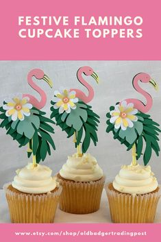 Party Favors, Decorations, Greeting Cards, & Gifts by OldBadgerTradingPost Flamingo Birthday, Luau Birthday, Flamingo Party, Summer Birthday, Birthday Parties, Diy Cake Topper, Birthday Cake Toppers, Cupcake Toppers, Cupcake Cakes