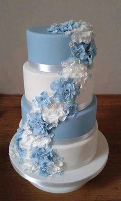 Celeste y blanco Fondant, Wedding Cake, Cupcakes, Home Decor, Design, Pies, White People, Sweets, Thanks