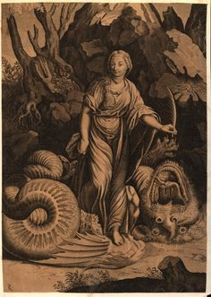 Giulio Romano: Margaret the Virgin Saint Margaret is a painting by Giulio Romano (working for Raphael) which depicts a European dragon slain by Margaret the Virgin. The painting was probably commissioned by Pope Leo X in order to flatter his sister  Marguerite dAngoulême. It is mentioned by Vasari. Prints were made of the painting. exclamationmark:  Prints and Drawings of Saint Margaret and the Dragon. Above: Etching/Engraving after Raphael and Giulio Romano, 1600-1700. (Monster Brains)