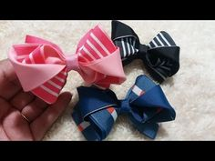 Diy Hair Bows, Diy Bow, Diy Ribbon, Ribbon Hair, Ribbon Bows, Ribbon Bow Tutorial, Hair Bow Tutorial, Fabric Bows, Fabric Flowers