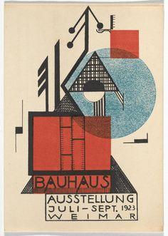 """Rudolf Baschant, """"Bauhaus Ausstellung Weimar Juli–Sept, 1923, Karte 9"""" (1923), lithograph, 5 7/8 × 3 15/16 inches"""