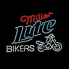 Miller Lite Bike Bikers Bicycle Logo Neon Sign///How I love you neon signs , Real nice for my Home Bar Deco