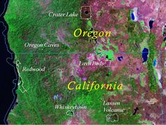 Klamath region parks map.  Here there be Redwoods...