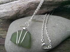 Jade Green Beach Glass Necklace by TreasuresFromTheLake on Etsy  New Design, brilliant shade of green, classic design.  Perfect to pamper yourself.
