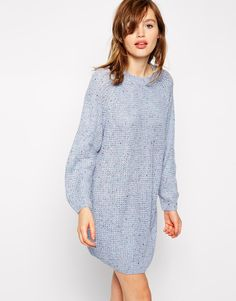 ASOS Knitted Dress With Raglan Sleeve In Nep