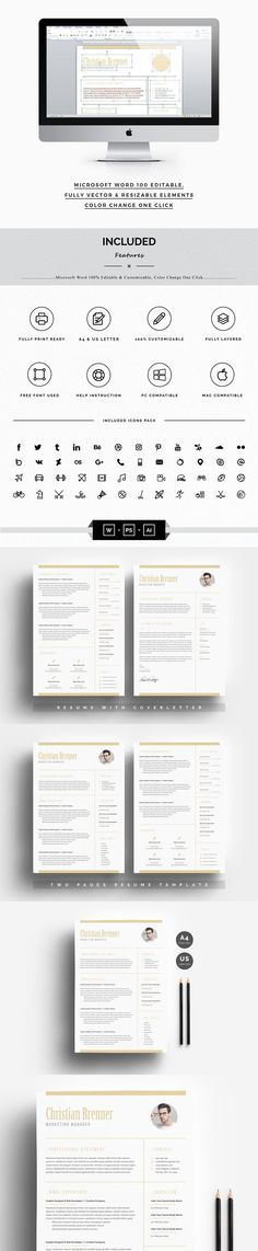 3 in 1 Resume Set (+ Screen Size) Screen size, Portfolio covers