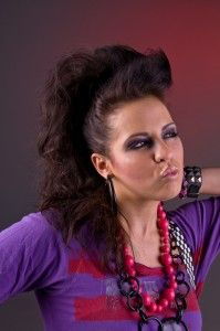 80s makeup...fohawk with crimped hair!!!