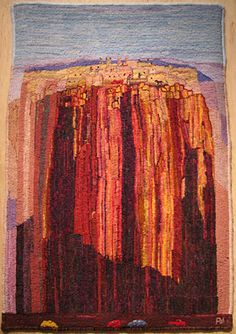 """""""Sky City"""" hand hooked by Ann Winterling"""