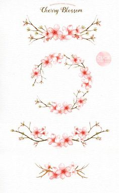 Cherry Blossom Watercolor Clip Art Spring FlowerFlowers Clip Source by Cherry Blossom Watercolor, Cherry Blossom Flowers, Watercolor Flowers, Tattoo Watercolor, Cherry Blossom Drawing, Cherry Blossom Tattoos, Watercolor Wedding, Cherry Blossom Branches, Cherry Blossom Images