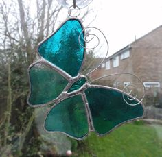 Stained Glass Butterfly Suncatcher - Turquoise