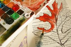 water color on book pages