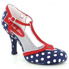 Ruby Shoo Hatty Womens T-Bar Court Shoes - Navy Spots