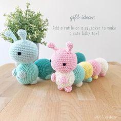The Little Caterpillar – aidie jellybean Crochet Amigurumi Free Patterns, Crochet Animal Patterns, Stuffed Animal Patterns, Crochet Baby Toys, Cute Crochet, Crochet Dolls, Crochet Cats, Crochet Birds, Crochet Food