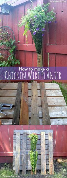 Vertical Chicken Wire Planter on Pallet Wood | 12 Creative DIY Pallet Planter Ideas for Spring | Beautiful Pallet Gardening Crafts, check it out at http://diyready.com/pallet-projects-gardening-supplies/