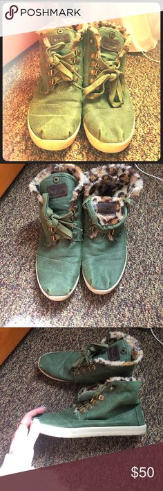 Toms Dark green and cheetah print inside toms. Only worn a few times and can be worn a few different ways! TOMS Shoes Ankle Boots & Booties