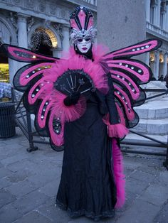 Deep purple and pink in a moth-like costume at Venice carnival 2015   Flickr - Photo Sharing!