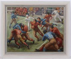 Dated this oil painting probably shows an episode from the famous American football game - the 1938 Rose Bowl (California vs. Oil painting by Margaret Brisbine, a well-known American female artist. Female Artist, Football Art, Rose Bowl, American Football, Online Art, 1930s, Alabama, Oil On Canvas, Original Art