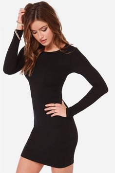 Super Cute and Sexy! Black Long Sleeve Bodycon LBD Club Dress