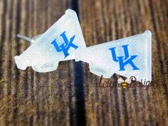 Wildcats, UK Wildcats, Megaphone Blue and White Earrings, Big Blue Nation, UK Jewelry, Basketball Jewelry, Handmade, College Football by leighbeedesigns on Etsy