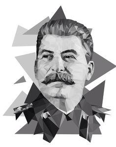 #lowpoly #art #moscow #portrait #b&w #stalin