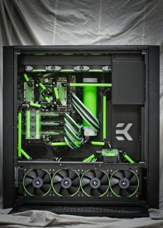 Green black computer PC tower setup liquid cooled case