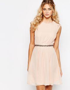 Elise Ryan Embellished Waist Skater Dress With Lace Back 47335a34c