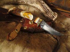 """Hunting Knife Ken Richardson CUSTOM MADE N USA HAND CARVED  HORSE 3"""" CLIP BLADE #KenRichardsonKnives"""