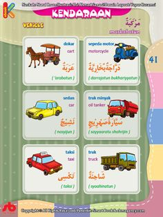 download gratis ebook pdf kamus bergambar 3 bahasa indonesia, inggris, arab nama-nama kendaraan (1) Arabic Sentences, English Sentences, Arabic Language, English Language, Learning Arabic, Kids Learning, Arabic Lessons, Islam For Kids