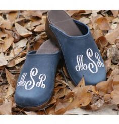 Our Monogrammed Clogs have been so popular this year! The black suede seems to be the big seller again!