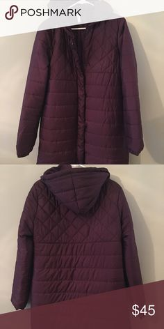 Fabletics winter parka Beautiful, long coat in a deep plum color. New with tags. Fabletics Jackets & Coats