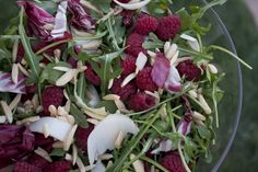 Judy's Special Exotic Green Salad and Reflections on Inspiration Raspberries, Dressings, Salads, Exotic, Strawberry, Meals, Chicken, Fruit, Green