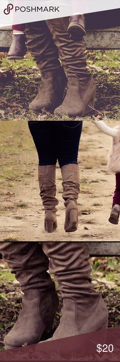"""""""Marla Knee-high faux suede boots"""" -Shoedazzle Knee-high, beautiful taupe/tan suede-""""hidden"""" heel. Very comfortable. JustFab Shoes Over the Knee Boots"""