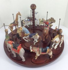 Animal Figurines Vintage Franklin Mint Carousel Art Porcelain Horses Set Video in Collectibles   eBay