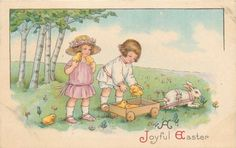 Margaret-Evans-Price-MEP-Easter-Boy-Girl-Load-Chicks-in-White-Bunny-Wagon-750A