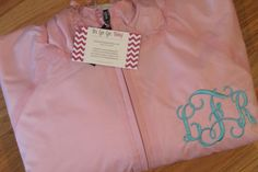 Monogrammed Personalized Pink w/ White Stripe Rain Jacket Pullover - 10 colors - Rugby Style