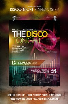 Disco Night Flyer / Poster Template PSD. Download here: http://graphicriver.net/item/disco-night-flyer-poster/15720904?ref=ksioks
