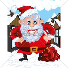 Cartoon Santa with a white beard. He is a in a town street Christmas Cartoon Pictures, Christmas Cartoons, Cartoon Pics, Bowser, Santa, Anime, Fictional Characters, Cartoon Movies, Anime Music