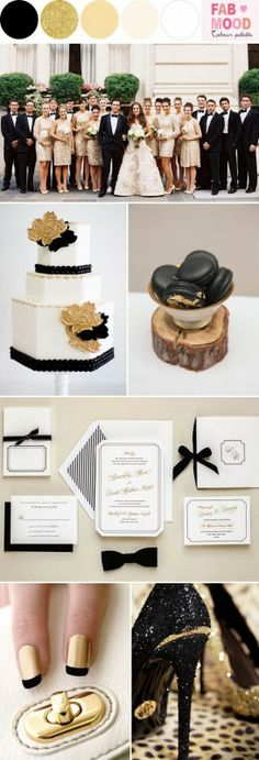 Black White Gold Wedding Colors – Black white gold wedding colors Believe or not, the hot colours for this season are black, white and gold. The key to getting this right is using the these colours together. Look at them as yin and yang – nothing alone, but everything together just like the perfect couple. And, the beauty of the monochrome look is that it will work with any event, any location and any unusual wedding theme that you want. Gold wedding theme, Groom  his men in ...
