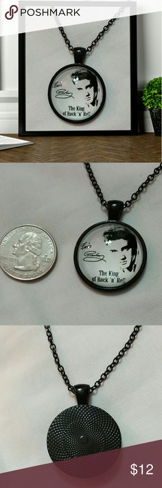 """Elvis """" the king of rock n roll"""" cabochon necklace Elvis """" the king of rock n roll """" glass cabochon necklace.  26""""chain """" black chain with 2"""" extender.  New Jewelry Necklaces"""