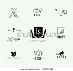 Vector flat collection of stylish modern shoe logo for women, men and kids. Shoe icons set. Shoe store insignia. - stock vector