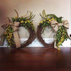 Double Door Wreaths Eucalyptus Boxwood Spring Summer For Front Home Decor