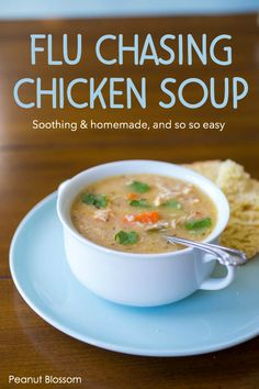 The only homemade chicken soup for the flu you need this season. Made from a real whole chicken and so spicy it will clear out your sinuses, it rolls all the major home remedies into one delicious sou Chicken Soup For Colds, Spicy Chicken Soup, Homemade Chicken Soup, Chicken Soup Recipes, Chili Recipes, Healthy Soup, Healthy Dinner Recipes, Sick Recipes, Lunch Recipes