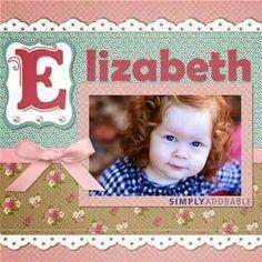 Elizabeth, 4x6 pic. Title page?