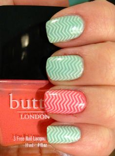 Chevrons over mint and coral
