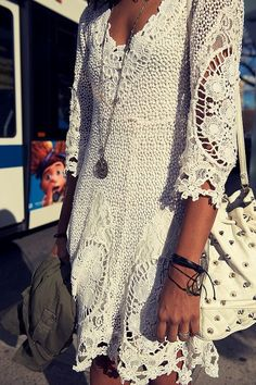 Bohemian lace dress : white crochet tunic :  pretty boho dress : bohemian outfit idea
