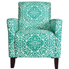 "Sutton Arm Chair in Modern Damask Turquoise Blue - Dimensions: 35.5"" H x 27.5"" W x 28.5"" DSeat: 19.5"" H x 19.5"" W x 21""DArm: 25"" H • Designed by Angelo Surmelis • Materials: Hardwood, microfiber, polyester fiberfill • Finish: Dark walnut • Upholstery materials: Poly-cotton blend • Upholstery color: Turquoise and white • Upholstery fill: Holofil polyester fiberfill back cushions • Legs: Tapered wood legs with a dark walnut finish • Innovative ..."