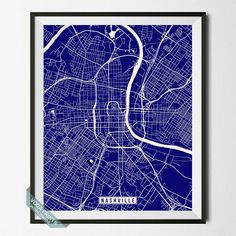 NASHVILLE, TENNESSEE STREET MAP PRINT by Voca Prints! Modern street map art poster with 42 color choices. Perfect for anyone who loves to travel or is away from home.